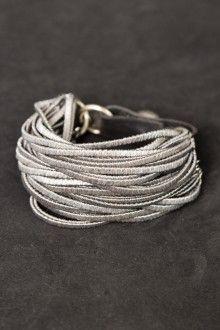 Riccardo Goti Sterling silver beads on multi string leather bracelet