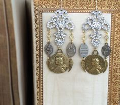 Joan of Arc assemblage earrings, devotional, religious