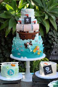 A Pirate and Mermaid cake