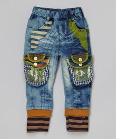 Blue & Brown Stripe Denim Jeans - Infant, Toddler & Boys