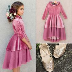 Get the look! Frocks For Girls, Little Girl Outfits, Little Girl Fashion, Little Girl Dresses, Kids Outfits, Girls Dresses, Flower Girl Dresses, Kids Winter Fashion, Kids Fashion