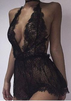 Solid Lace Halter Sexy Lingerie $7.69