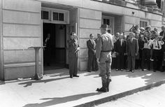 "General Henry Graham, of the recently federalized Alabama National Guard, arrives at the University of Alabama to order Governor George Wallace to ""step aside"" . Despite a federal order, Wallace had been blocking the doorway to prevent two black..."