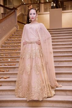 Indian Lehenga Choli | Nude Pink with Gold Embroidery | Elegant & Stunning