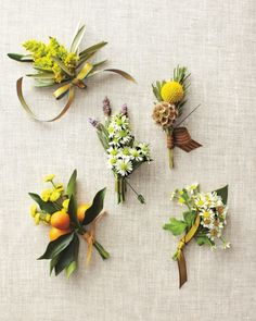 "Cost-Cutting Boutonnieres    Layer cuttings of filler flowers, such as goldenrod and mimosa, with herbs and fruit to make boutonnieres. ""Cut each flower down to about 4 inches then stagger the clippings at different heights, and bind the stems together with floral tape. Cover with ribbon, and snip the ends to even them out.""   (clockwise from top left): Goldenrod and olive leaf; lavender and miniature daisies; craspedia, scabiosa, and rosemary; chamomile and lemon leaf; kumquats and button…"