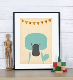 Retro poster - platypus - vintage print, A3, nursery picture, wall decoration, retro wall decor, cute baby animal, Australia, Outback