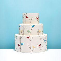 Vintage-style bird wedding cake.