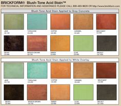 Blush-tone Acid Stain color chart.  An exclusive line of concrete stains by BRICKFORM.