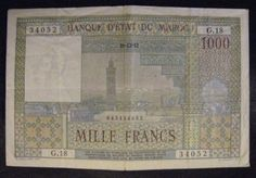 Banknote: 1952 Morocco 1000 Francs Circulated Small Problem  Free U.S Shipping