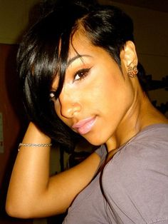 Short Asymmetric Bob Hairstyle for Black Women Asymmetric Bob, Assymetrical Bob, Asymmetrical Haircuts, Asymmetrical Pixie, Layered Haircuts, Ladies Hairstyles, 2015 Hairstyles, Black Women Short Hairstyles, Bouffant Hairstyles