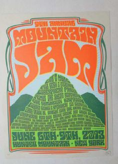 Original silkscreen concert poster for Mountain Jam featuring performances by Gov't Mule, Phil Lesh, Widespread Panic and many more at Hunter Mountain, NY in 2013. 18 x 24 inches. Signed and numbered as an ARTIST EDITION by the artist John Warner.