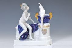 porcelain group, Rosenthal, Selb Bavaria, molding around 1920, Venus with parrot, designed by Adolf Oppel 1913, under glaze painting