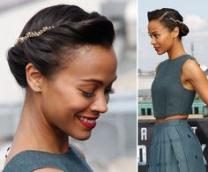 All Together Now: Lets Thank Zoe Saldana for Introducing Us to the Most Perfect Rolled Updo Well Ever See
