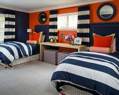 Quarto Adolescente: +95 Ideias e Projetos Originais para 2021 Blue Bedroom Decor, Bedroom Orange, Orange Nursery, Kids Bedroom, Bedroom Ideas, Interior Design Colleges, Best Interior Design, Chennai, Cool Furniture