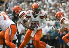 Robert Griffin III #10 of the Cleveland Browns drops back in the first quarter against the Philadelphia Eagles at Lincoln Financial Field on Sept. 11, 2016 in Philadelphia.