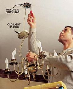 """Step by step on how to install a ceiling light fixture...good to know in case step one """"call dad"""" doesn't work."""