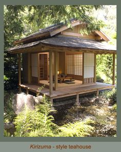 I love Japanese tea houses. This one is actually in San Rafael CA  but I love everything about the blonde wood, shoji architecture and the Japanese garden. <3