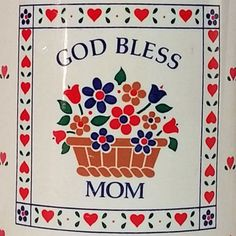 God Bless Mom Hearts Flowers Mother Gift Enesco1987 Mug Cup Coffee Tea