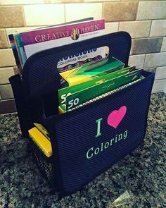 Double Duty Caddy can help organize your coloring books and crayons!