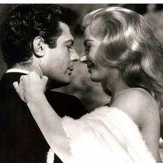 """Τα μυστικά του σινεμά είναι σαν της ποιήσεως τη μαγεία  ~ Ανδρέας Εμπειρίκος, """"Κινηματογράφος ή cinema ή movies"""" photo: #LaDolceVita by Federico #Fellini,  starring Marcello #Mastroianni, Anita #Ekberg #cinemaparadiso"""