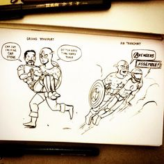 ground transport vs air transport Captain America and Iron Man fanart by artinggrace