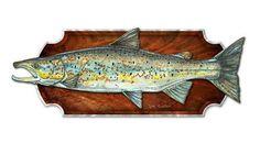 Mounted Atlantic Salmon Metal Wall Art Hanging