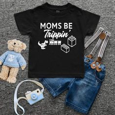 Moms Be Trippin'- Personalized Kids/Toddler shirts. Order your custom shirt, hoodie or tank top at Boardman Printing. Visit Facebook/BoardmanPrinting Funny Kids Shirts, Cute Shirts, Lyric Shirts, Sassy Boutique, Custom Closets, Toddler Outfits, Boy Outfits, Mommy And Me, Boutique Clothing