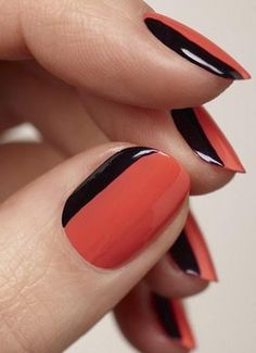 We prefer our French manis sideways and extra glossy. #red #black