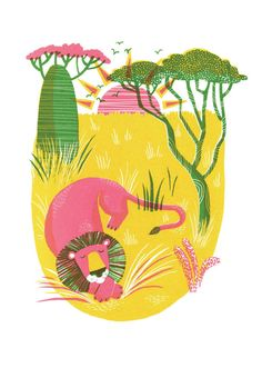 Hand pulled original 3-colour screenprint of a lion having a nap in the sunny savannah. Printed on white, high-quality paper. Numbered and signed. Edition of 20   Essi Kimpimäki