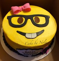 Nerd Emoji Cakethe Pink Bow Was A Special Request By The Birthday
