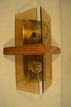 Vtg Mid Century Modern  Thomas Industries Brass Teak Amber Wall Light Sconce #ThomasIndustries