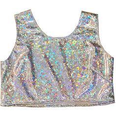 Holographic Top ($32) ❤ liked on Polyvore featuring tops, tank tops, tanks, silver, women's clothing, sparkly tank top, silver tank top, hologram top, night out tops and silver top