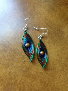 "Peacock Wire Earrings#5  1 1/2"" long  $16"