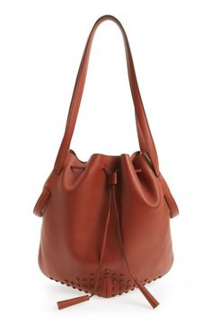 Tods Women's Secchiello Drawstring Leather Bucket Bag Beige