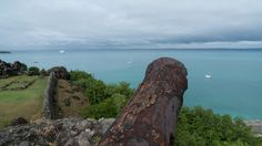 A cannon rusts from atop Ft. Louis in Marigot, St. Martin.
