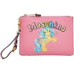Moschino Retro My Little Pony Zipped Clutch ($295) ❤ liked on Polyvore featuring bags, handbags, clutches, magenta, moschino handbags, pink handbags, pink clutches, moschino purse and zip purse
