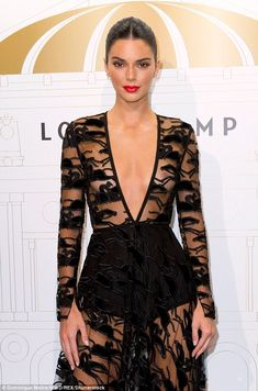 9c99bad07d Kendall Jenner flashes her underwear in extreme plunging dress