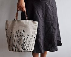 BUCKET TOTE - field by arounna on etsy;  original drawing screen printed with black solvent free ink  on 100% natural oatmeal colour linen