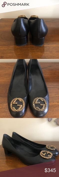Gucci Black Pumps Beautiful black pumps with soft gold Gucci buckle on toe. I wore them to a rehearsal dinner and they're still like new...no scrapes or scratches. Wonderfully comfortable! Protective black half soles added for sole protection and traction. Gucci Shoes Heels