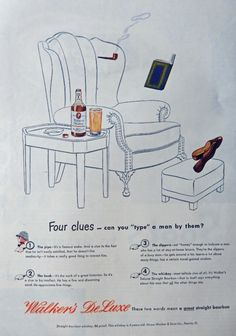 Walker s DeLuxe Whiskey  40 s Vintage Print Ad  Color Illustration   four clues   Magazine Art