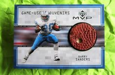 1999 Barry Sanders Detroit Lions Game Used Football Piece Card Upper Deck MVP ** #DetroitLions