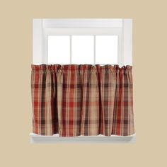 Saturday Knight, Ltd. Cooper Plaid Tier Kitchen Window Curtain Set, Red