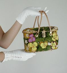 50s Vintage Midas of Miami Gold Wicker Pansy Bag/Purse - from my sold archives at denisebrain.com