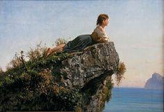 Filippo Palizzi - La fanciulla sulla roccia a Sorrento - Scuola Napoletana
