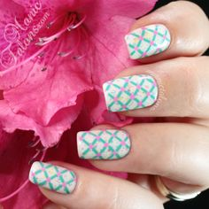 Spring manicure with stamping over gel polish