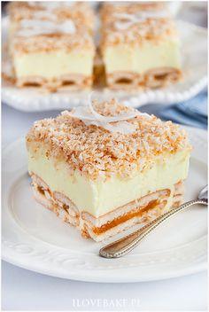 Ciasto śnieżny puch - I Love Bake Polish Desserts, No Bake Desserts, Pie Recipes, Sweet Recipes, Cooking Recipes, Icebox Cake, Homemade Cakes, Chocolate Desserts, Food To Make