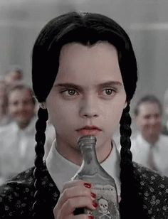 Halloween Activities Brought To You By Wednesday Adams GIF - Drinking Drunk Halloween - Discover & Share GIFs