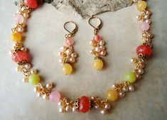 Multi Gemstones Cluster Strand Necklace / Earring Set.Jade/Cherry Quartz.Freshwater pearl.Gold.Bridal.Drop.Dangle.Statement.Pastel.Handmade.