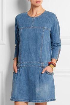 See By Chloé - Stretch-denim mini dress Denim Fashion, Look Fashion, Fashion Outfits, Womens Fashion, Jeans Refashion, Estilo Jeans, Denim Tunic, Mode Jeans, Denim Ideas