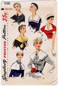 Set of Misses Collars Cuffs Capelet Pattern Vintage Sewing Pattern Simplicity 1030 complete. Vintage Dress Patterns, Vintage Dresses, Vintage Outfits, Vintage Fashion, Clothes Patterns, 1950s Fashion, Patron Vintage, Retro Mode, Sailor Collar
